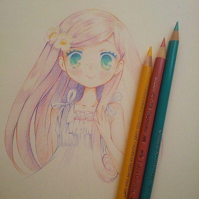 """""""Painted with pencil policromo faber castell""""  No se cuando pretendo terminar este dibujo... Soy un desastre OTL #id #moe #kawaii #instaanime #instadraw #tradicional #pink #flower"""
