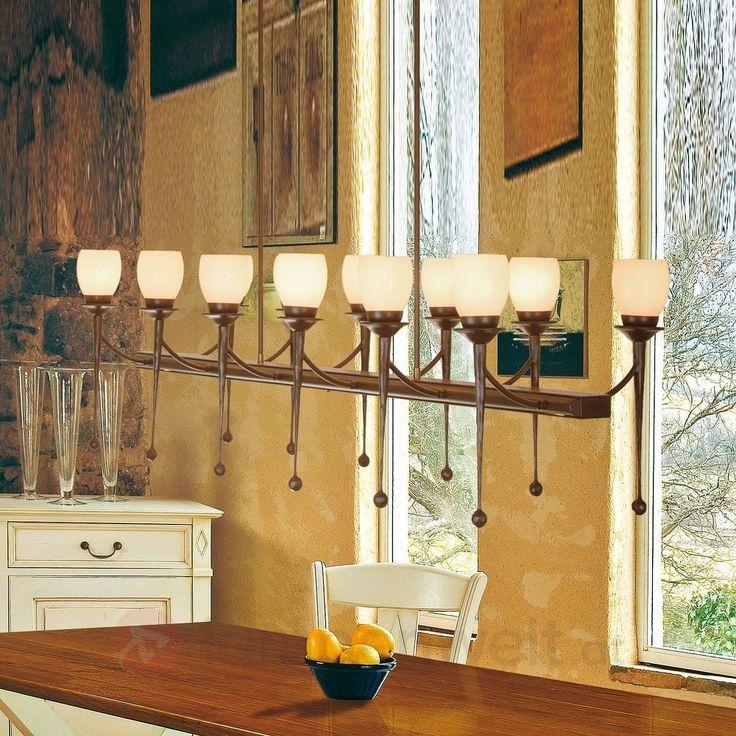 dinieren im authentischen landhausstil hngeleuchte aus braun schwarzem eisen mit opalglsern fr ein - Esszimmer Landhausstil Braun