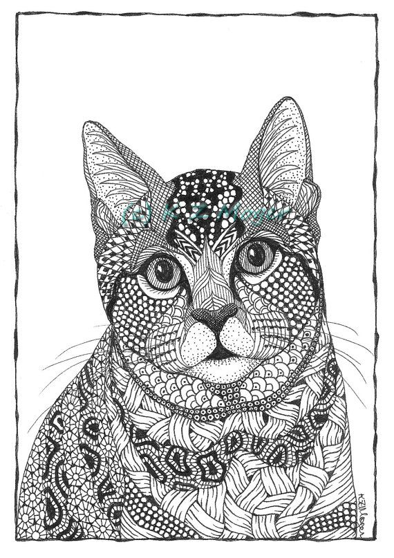 Cat Portraits ink drawing prints various by MelangeSeriousFunArt
