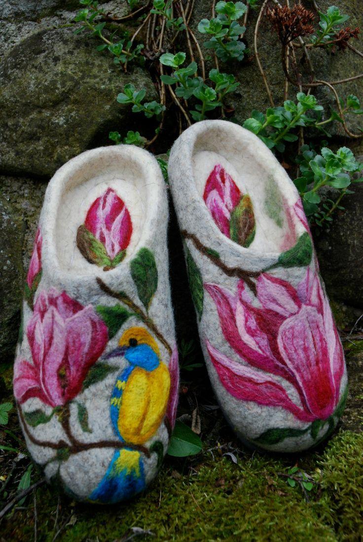Felted Slippers  Magnolia size EU40 by IrinaU on Etsy, $200.00