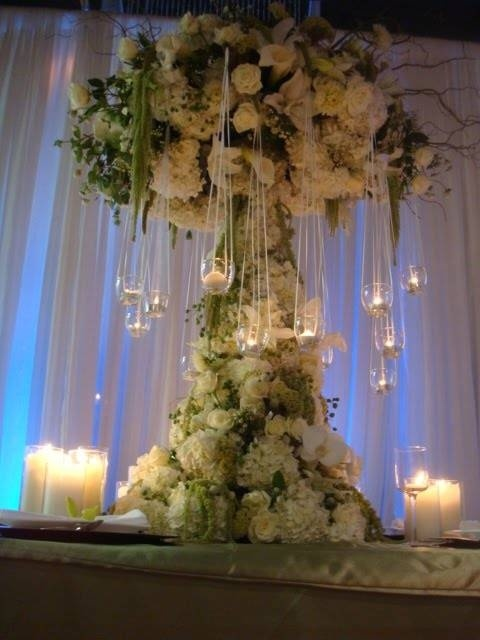 White Flowers centerpiece - Tall with hanging candles.