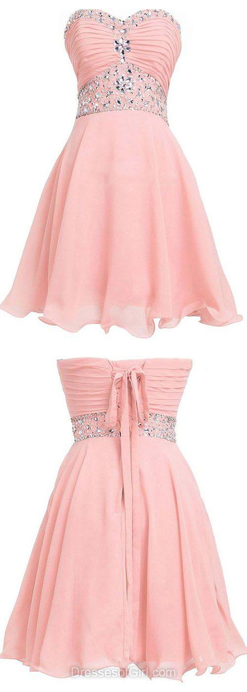 Pink Prom Dresses, Sweetheart Formal Dresses, Chiffon Evening Dresses, Chiffon Homecoming Dresses, Beaded Graduation Dresses