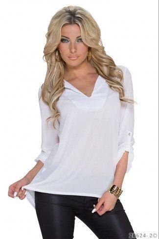 Φαρδιά σιφόν μπλούζα - Άσπρο