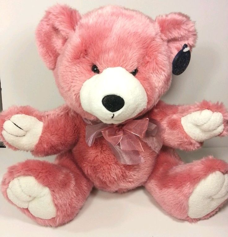 "DanDee Pink White Teddy Bear Ribbon Ear Tag 11"" Plush Stuffed Animal  #Dandee"