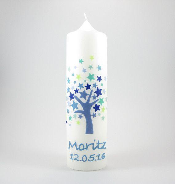 Taufkerzen Taufkerze Lebensbaum Blaue Sterne Ein Designerstuck Von