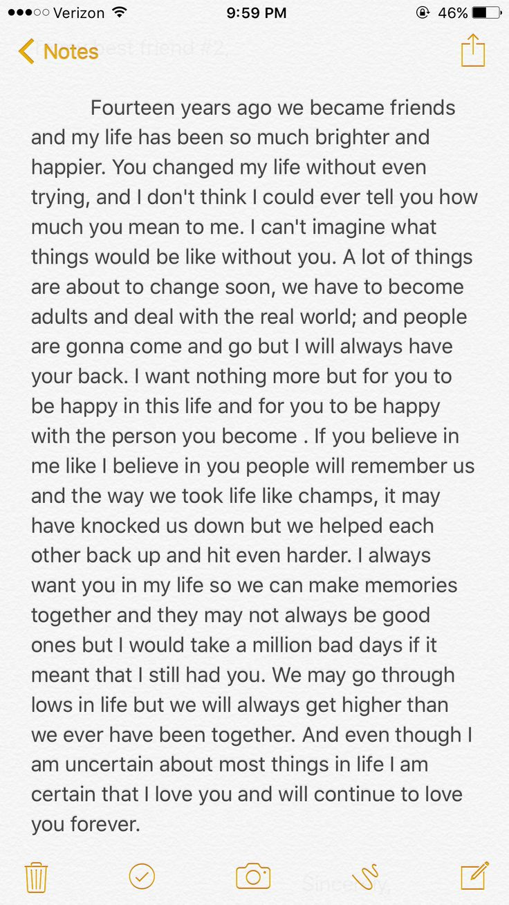 Me and my best friend are graduating from high school and I write her a letter.