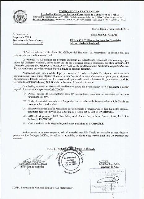 CRÓNICA FERROVIARIA: Y.C.R.T.: El gremio La Fraternidad seccional Río G...