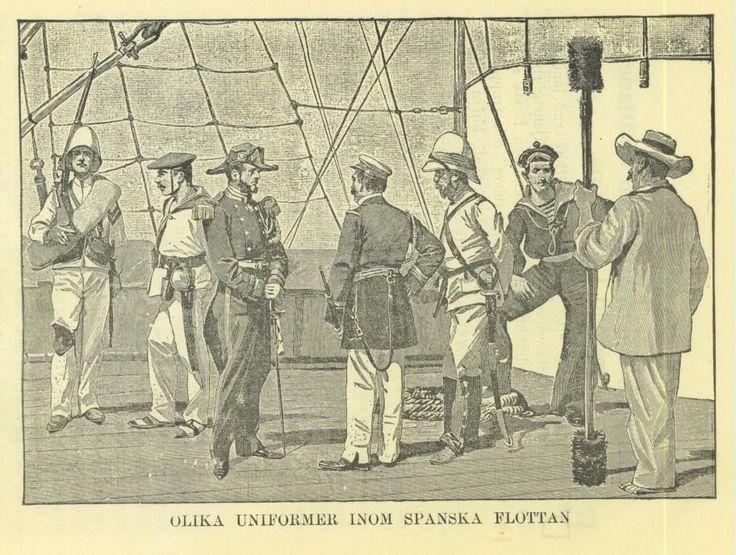 1898 ENGRAVING~WAR WITH SPAIN~OLIKA UNIFORMER INOM SPANSKA FLOTTAN  #Realism