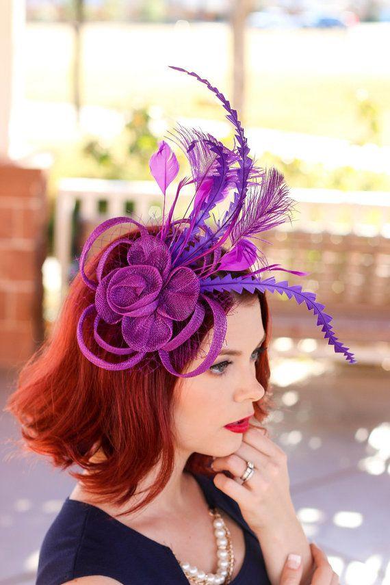 Purple Fascinator, Womens Tea Party Hat, Church Hat, Derby Hat, Fancy Hat, Bachelorette Hat, Tea Party Hat, wedding hat
