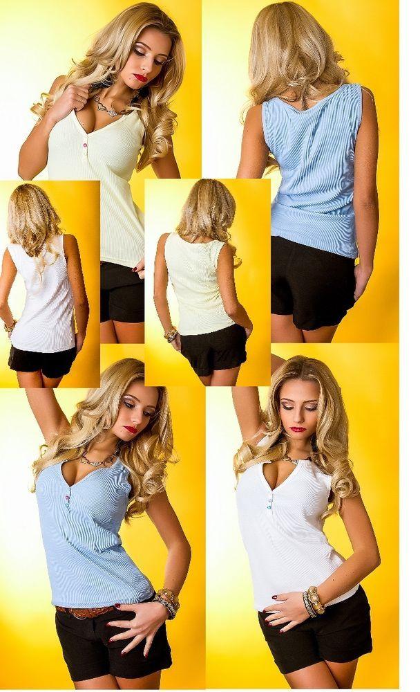 Sexy Damen Trägertop,Tanktop,Shirt,Top Freizeitshirt,T-Shirt,3 Farben,36-46