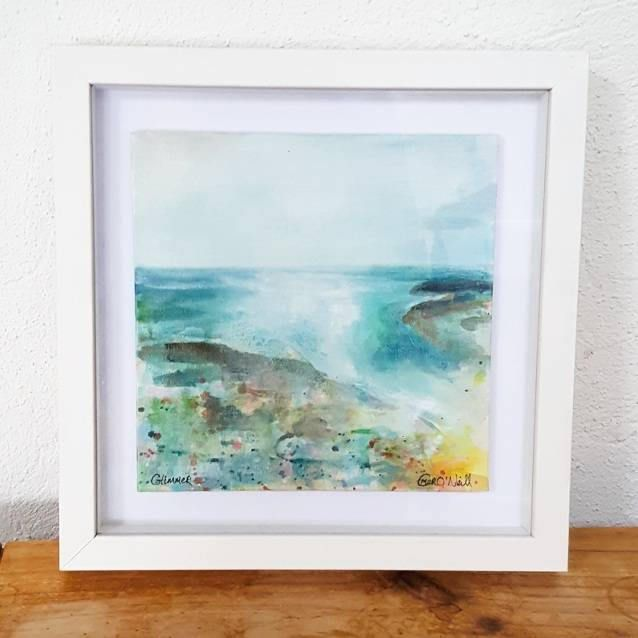 'Glimmer' is an acrylic Irish Seascape painted on an 10x10 Canvas Board, which has been mounted in a 12x12 shadow box frame. €98 P&P I use my art to connect my wonderful customers to the power of the ocean. Be it a sense of freedom in the wild wind and thundering waves, or a moment o