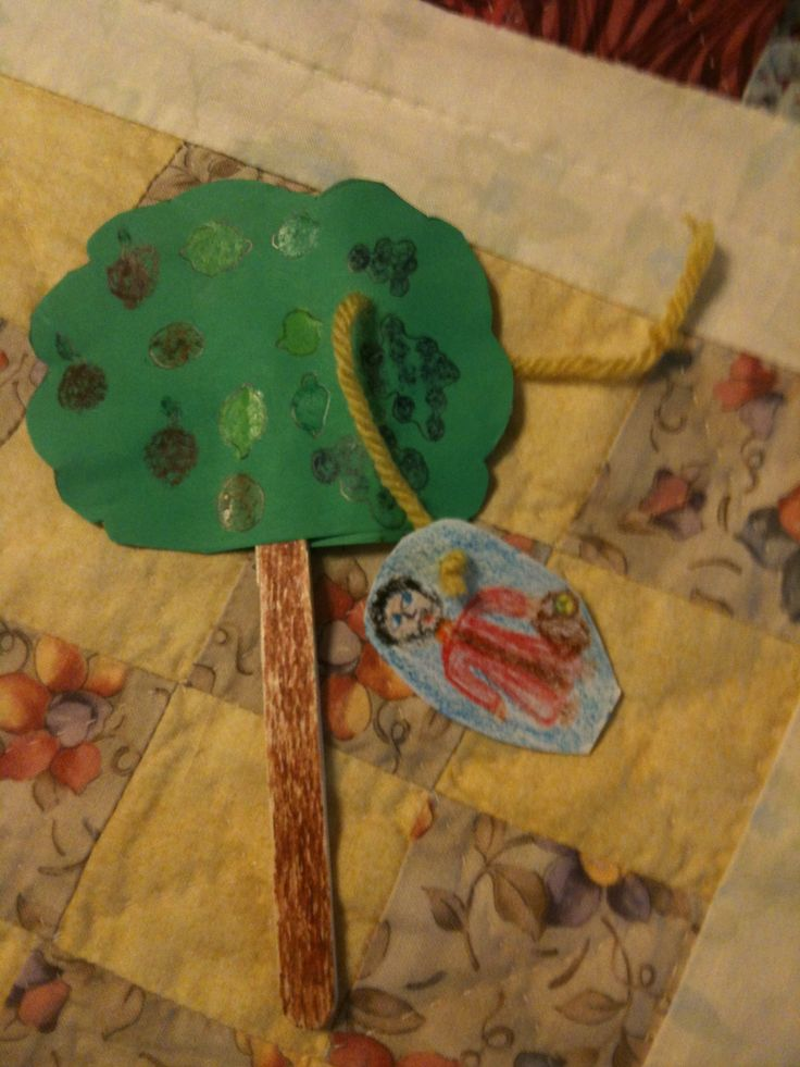 Love this!  Have the children cut their own green shape and glue to a craft stick.  Hole punch a hole and lace a string through it.  They draw their own person and staple to the string to help Zaccheus climb the tree and come back down!