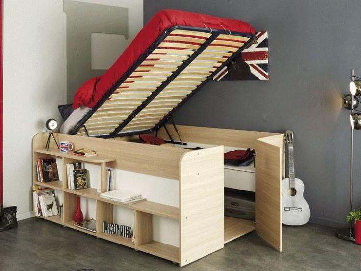 Die besten 25+ Bett mit stauraum zum hochklappen Ideen auf - bett regal stauraum ablage