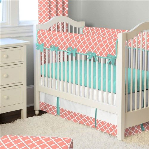 Light Coral and Teal Lattice Crib Bedding by Carousel Designs.