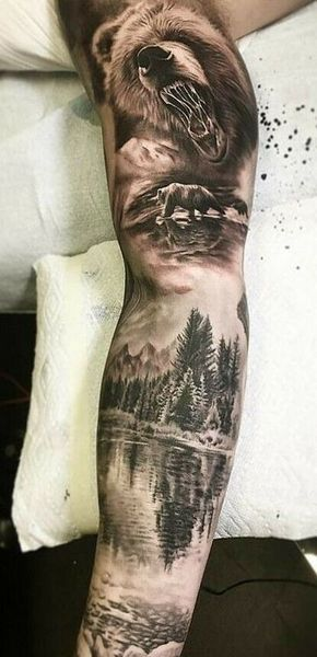 Diseños Asombrosos De Tatuajes De Paisajes Para Hombres El Lobo Se