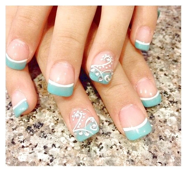 Blue+French+Manicure | Detail Of Charming Blue French Manicure Ideas