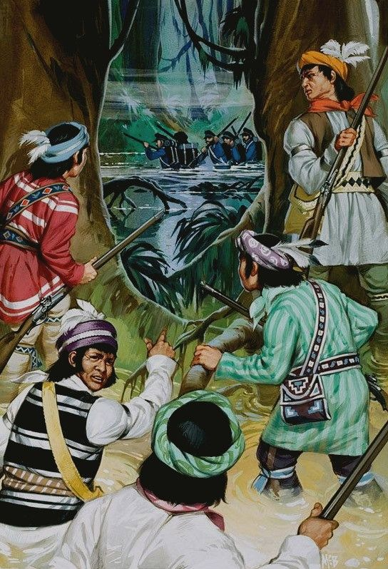 Seminoles Battle the American Soldiers in the Swamps by ANGUS MCBRIDE