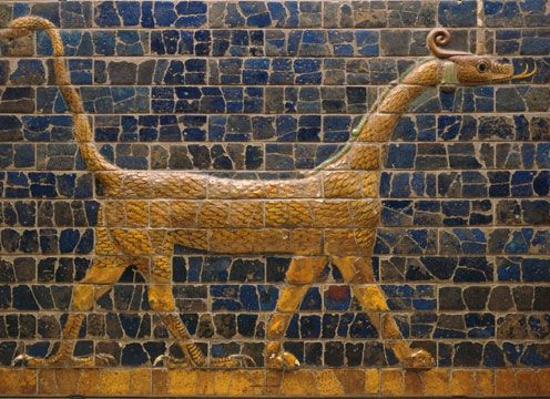 Mushussu (also known as Mushhushshu or Sirrush) is the Dragon of Babylon and one of two animals depicted on the Ishtar Gate. This kudurru dates back to the Second Dynasty of Isin, 1156-1025 BCE. Newly unearthed artifacts depicting the Mushussu or Mushhushshu that were kept in Babylon Museum in Iraq were stolen in mid October 2012.