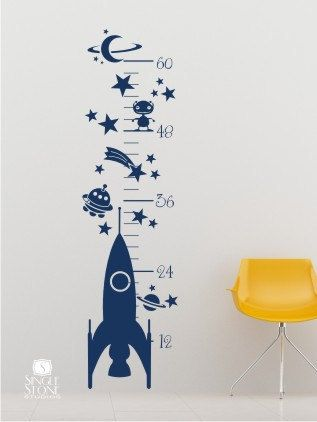 Rocket Growth Chart Wall Decal  Vinyl Wall by singlestonedecals