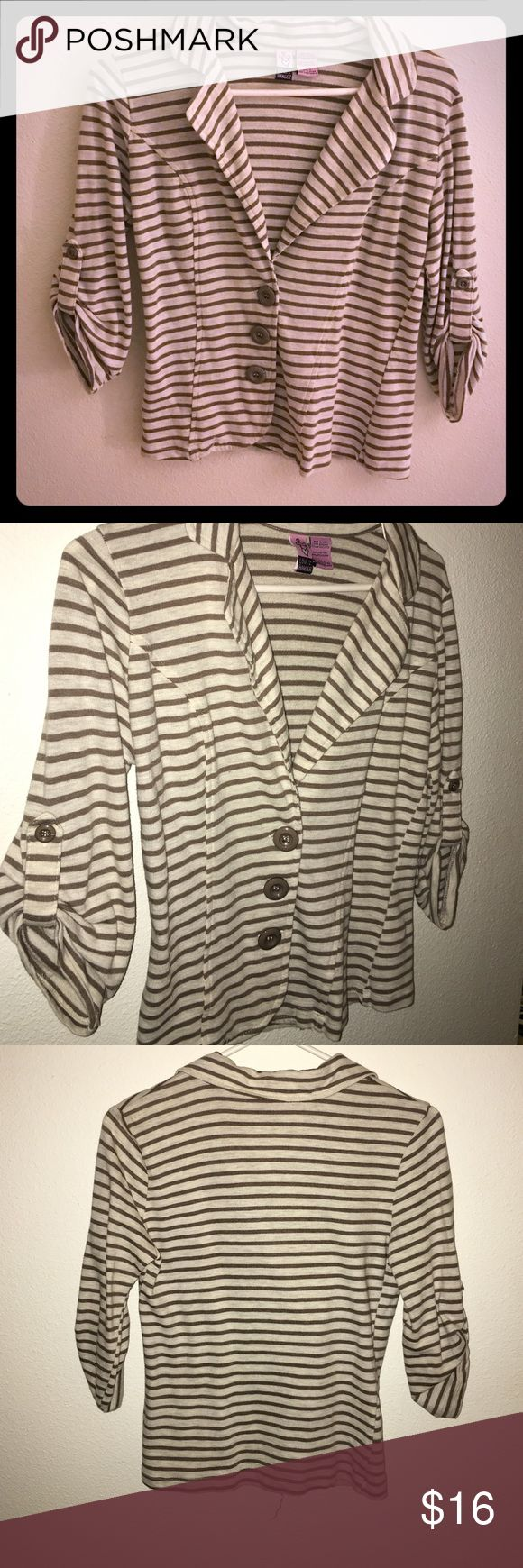Love on a hangar V-neck cardigan. V neck cardigan. Cotton and polyester, fabric is forgiving and gives good shape. Casual or dress up! Cream with brown stripes. Size S. love on a hanger Sweaters V-Necks