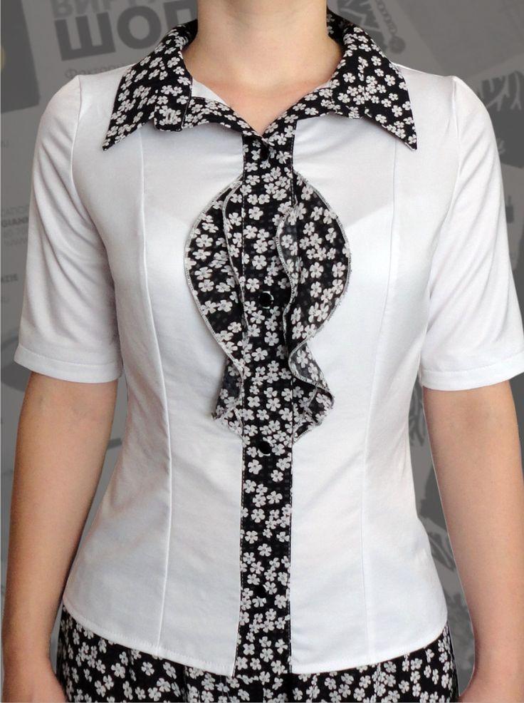 33$ Белая блузка для полных женщин и девушек с рюшиками в мелкий цветочек Артикул 523, р50-64