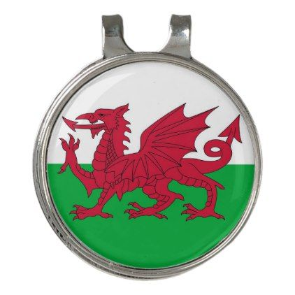 Golf Hat clip and Ball Marker Wales Flag - personalize gift ideas