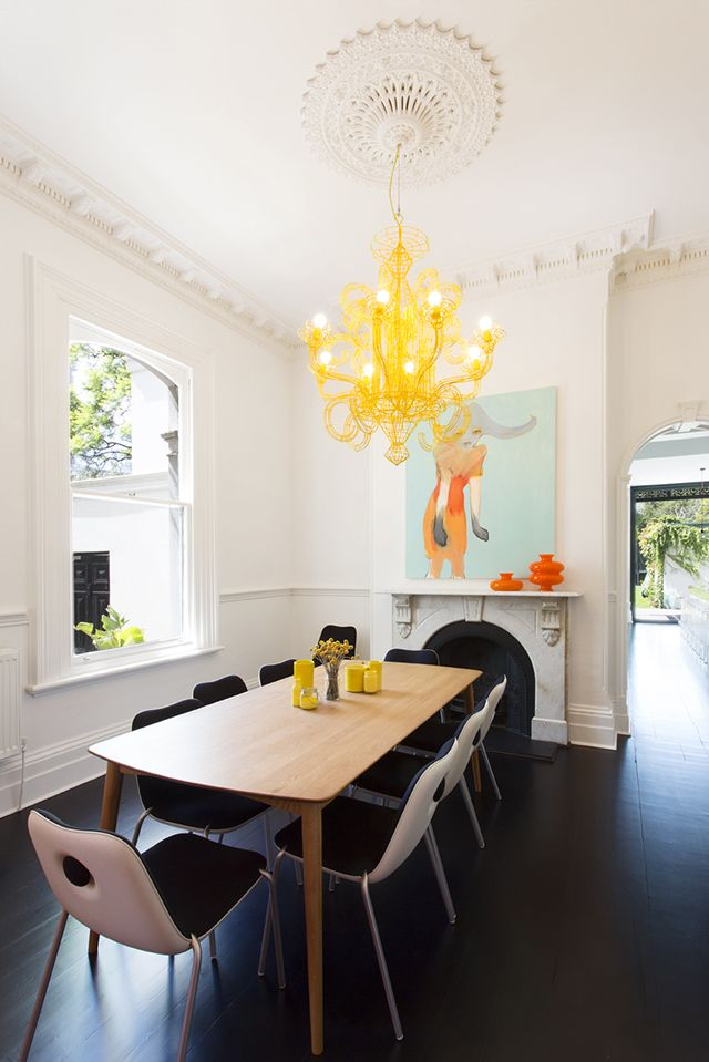 Homes to Inspire | South Yarra House Modern yellow chandelier from heritage ceiling mould. Love the chairs too.