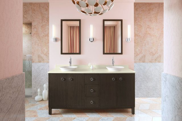 Sonneman Lighting Bathroom Contemporary with Chevron Tile Custom Made Double Vanity Hers and Hers Bathroom