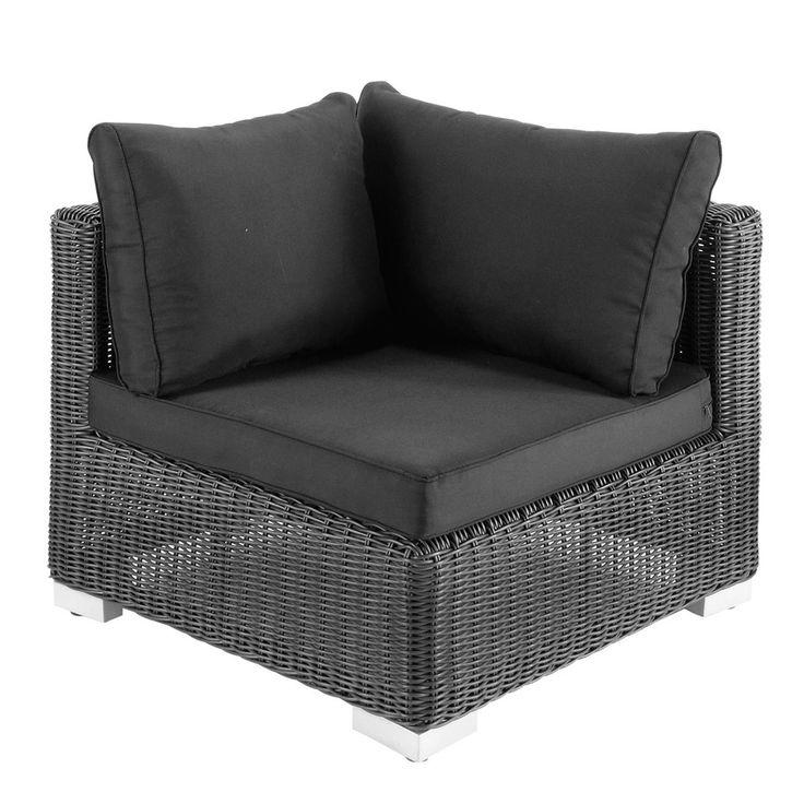 Angolo nero cenere di divano da giardino in resina intrecciata Porto Vecchio   Maisons du Monde