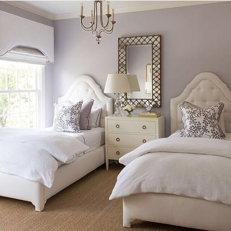 A gorgeous bedroom fit for a couple of princesses  A soft color such as this lavender is a perfect compliment to the metal gold tones found in the mirror and chandelier. Tagged to us by @ashleygoforth... - Home Decor For Kids And Interior Design Ideas for Children, Toddler Room Ideas For Boys And Girls