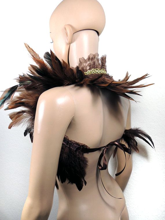Steampunk feather shrug in brown shoulder wrap by DeadDollsShop DIY Inspiration for Halloween art project