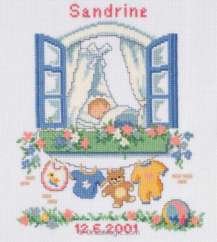 Point de croix à broder Tableau de naissance - Fenêtre de bébé kit broderie de Vervaco 70651