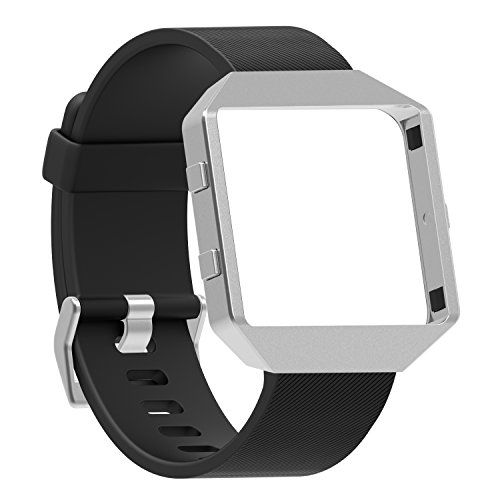 """Fitbit Blaze Bands Small Large Austrake Classic Replacement Silicone Strap for Fitbit Blaze Watch Accessory for Women Men (A Black Band NEW Silver Frame Large (6.7""""- 8.5""""))"""
