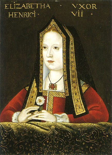 Elizabeth of York (11 February 1466 – 11 February 1503) was Queen consort of England as spouse of King Henry VII from 1486 until 1503, and mother of King Henry VIII of England.  Elizabeth of York is the only English queen to have been a daughter (of Edward IV), sister (of Edward V), niece (of Richard III), wife (of Henry VII), mother (of Henry VIII) and grandmother (on the paternal side of Mary I, Elizabeth I and Edward VI) of English monarchs.