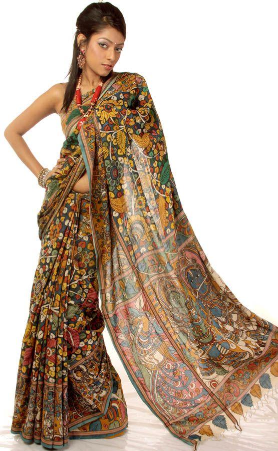 Multi-Color Kalamkari Sari from Andhra Pradesh with Hand-Painted Radha Krishna