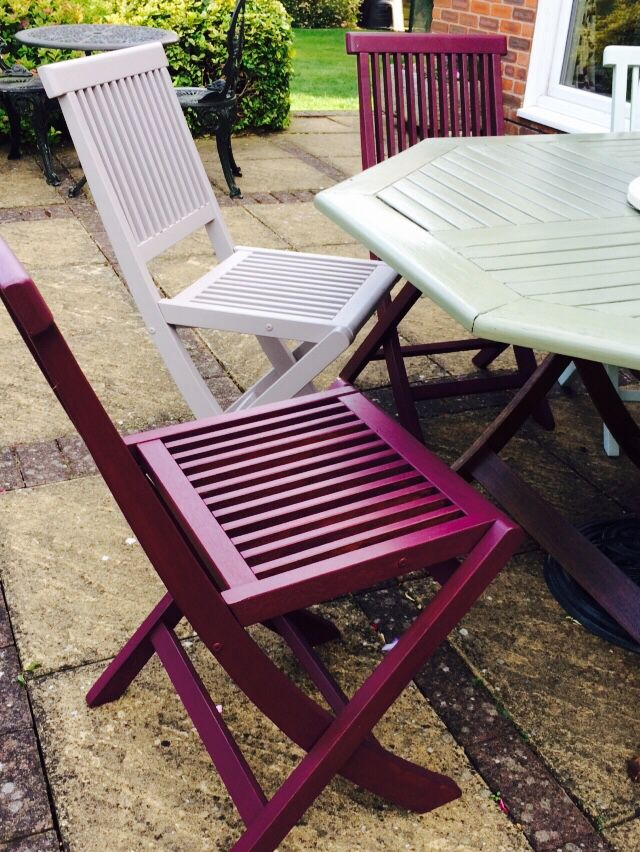My lovely slatted wooden chairs. Found them on eBay for a real steel, and painted them using Cuprinol garden colour range of paints!!