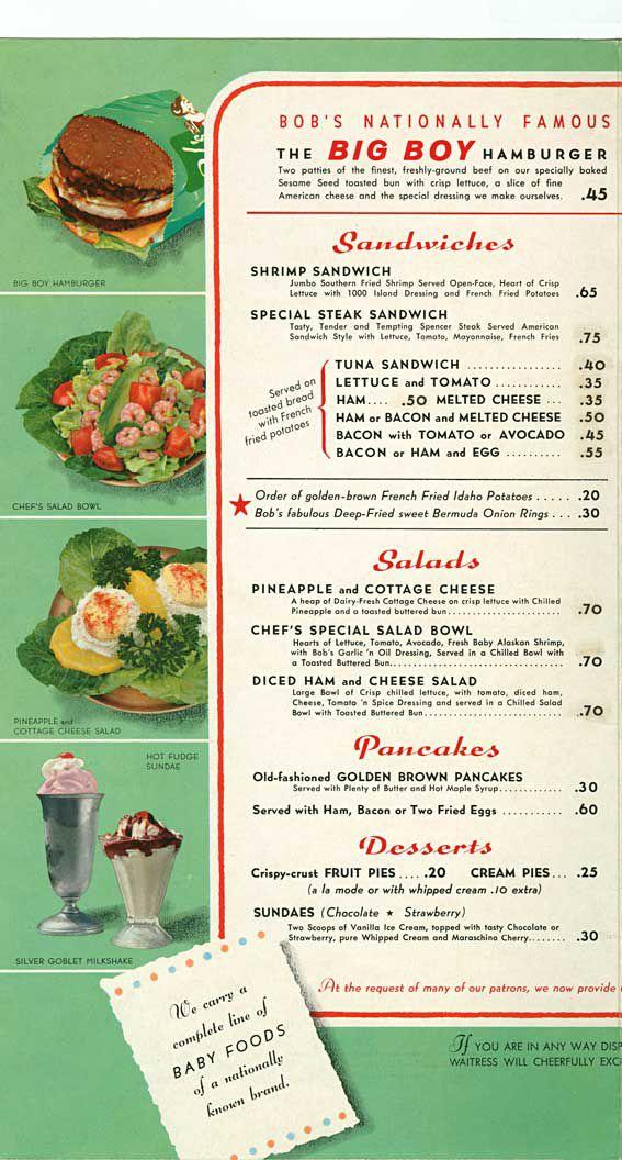 1956 Bob S Big Boy Menu Page 1 Www Bobs Net Big Boy Menu Diner Recipes Vintage Menu