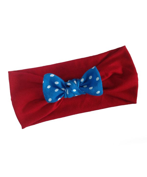Look at this Red & Blue Polka Dot Bow Headband on #zulily today!