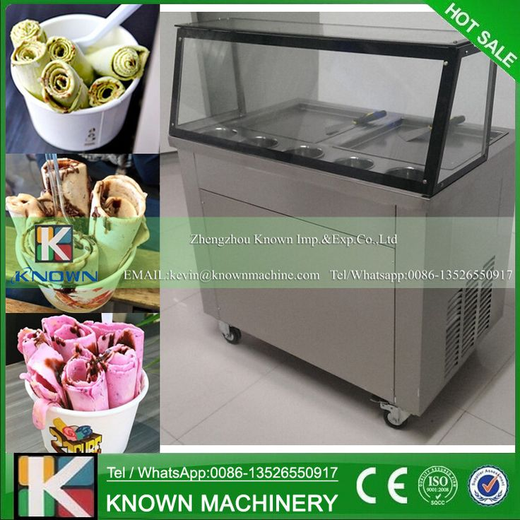 Free Shipping 220V/110 Thailand Fried Ice Cream Machine 2 Pots 2 Compressor 35CM Pan Fried Ice Cream Roll Machine With 5 Buckets