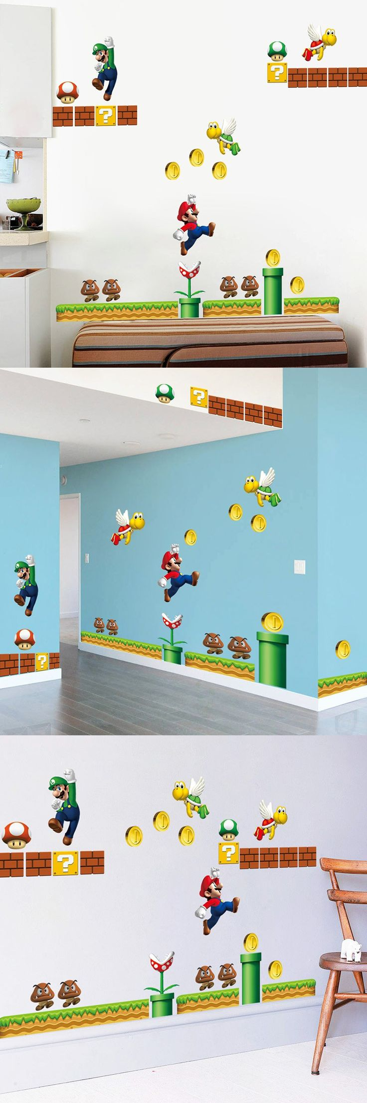 Home supermario games supermario wallpapers - Creative Home Decor 3d Wall Stickers Cartoon Game Star