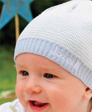 Baby Boys Cotton Beanie  This 100% cotton knit beanie is blue and cream striped with a white jersey cotton lining. Fit most babies up to 12 months.