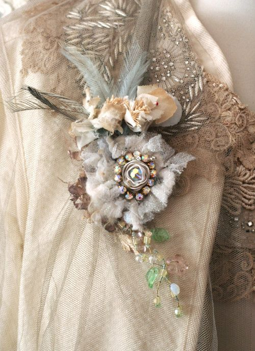 Fleurbonheur ON HOLD for Joanne--      Romantic lightweight clip, to wear as hair adornment or brooch. Made of antique textiles and trims, vintage petals,