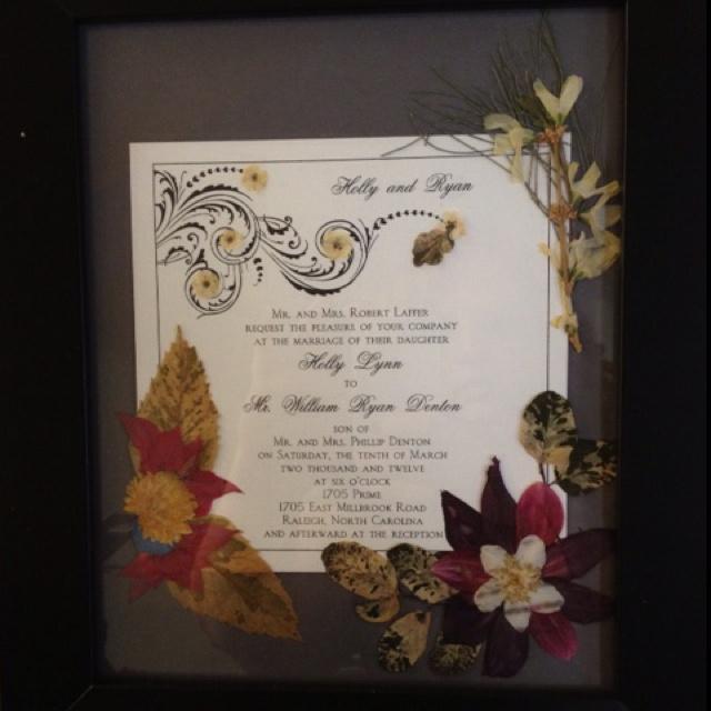 Flower Pressed Invitation Framed For Wedding Gift Pressed Flower