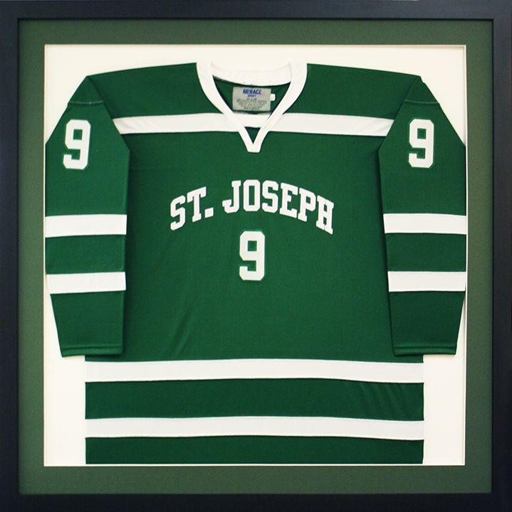custom framed st josephs highschool hockey jersey designed and framed at art frame