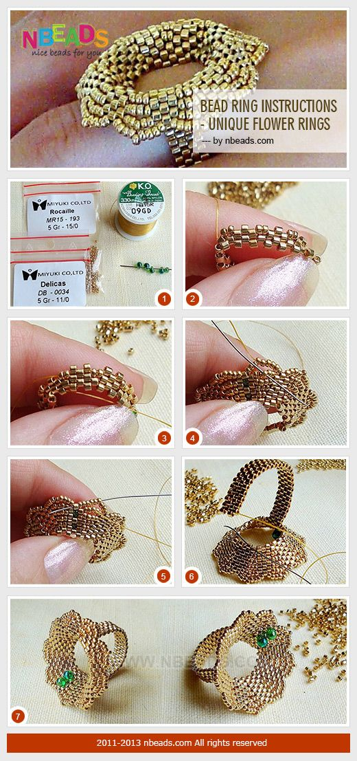 Passo a passo para montar um anel formato flor de vidrilho. #vidrilhos #seedbeads #DIY #beadshopbr  www.beadshop.com.br?utm_source=pinterest&utm_medium=pint&partner=pin13