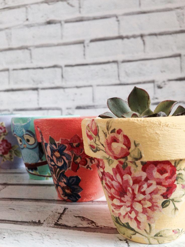 Decoupage on terracotta pots