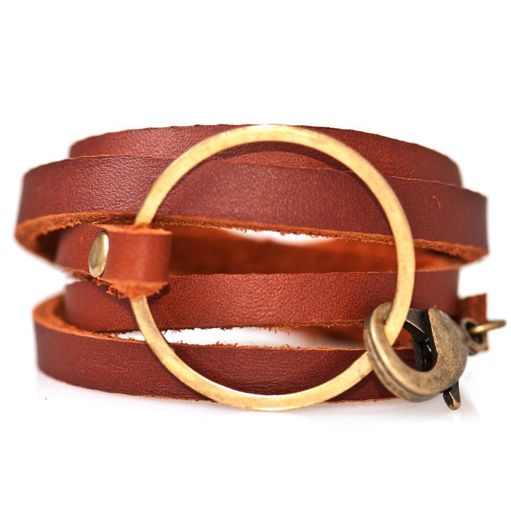 Wrap Bracelet - Leather + Brass