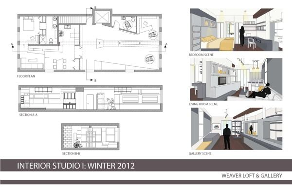 Plan, elevations and perspectives  Interior Design Portfolio by Stephanie Heucke, via Behance