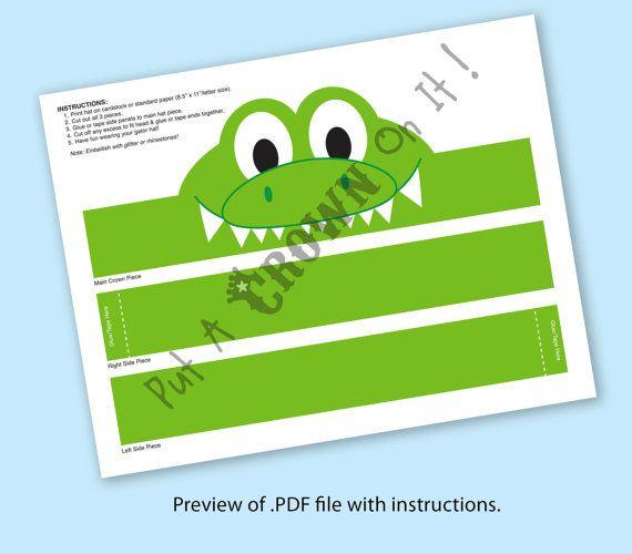 Gator Paper Crown Printable by PutACrownOnIt on Etsy
