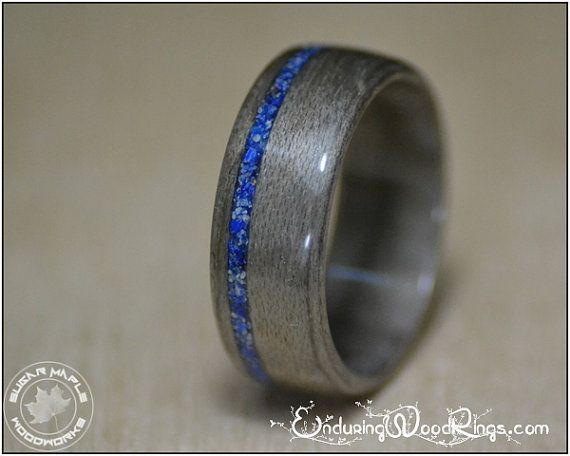 Hey, I found this really awesome Etsy listing at https://www.etsy.com/listing/206523785/grey-maple-wood-ring-with-lapis-inlay